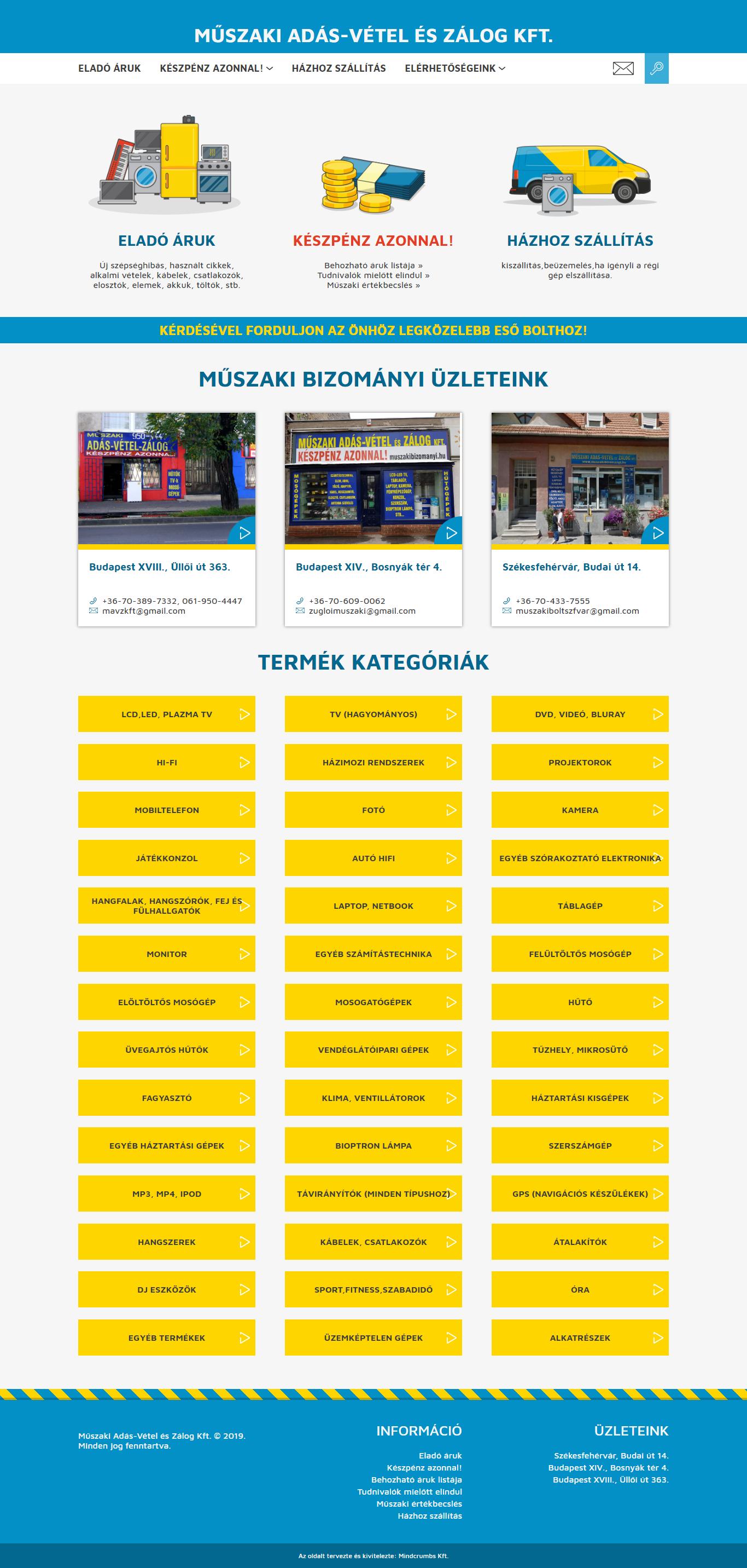 Műszaki Bizományi honlap, főkép