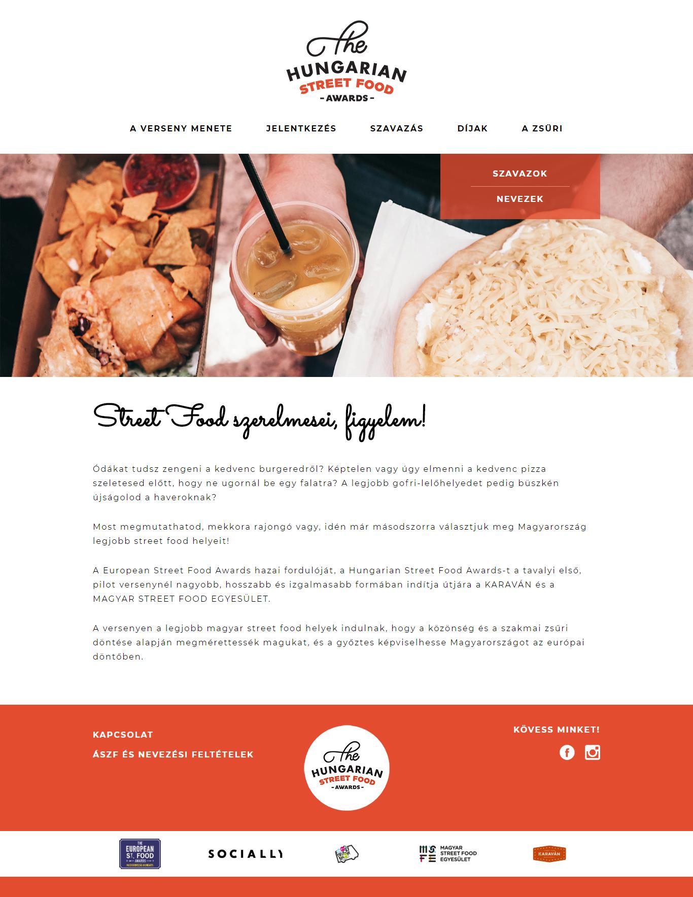 Hungarian Street Food Awards honlap, főkép